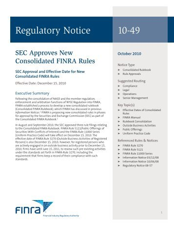 Regulatory Notice 10-49 - finra