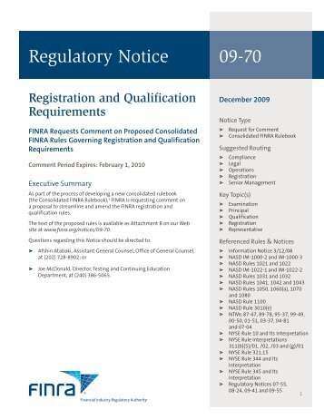 Regulatory Notice 09-70 - finra