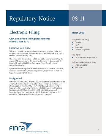 Regulatory Notice 08-11 - finra