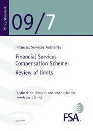 PS09/7: Financial Services Compensation Scheme: Review of limits