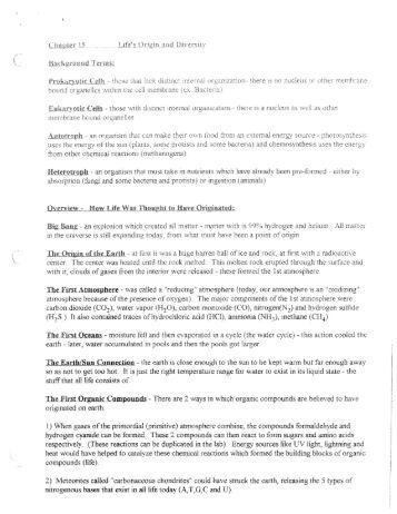 Life's Origin and Diversity.pdf - Mrs Stovel