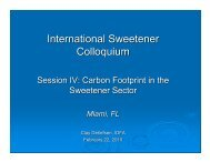 Session IV: Carbon Footprint in the Sweetener Sector