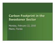 Carbon Footprint in the Sweetener Sector - Sweetener Users ...