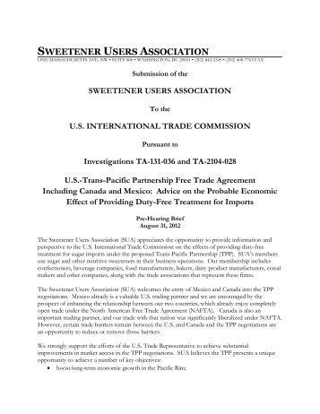 SUA Statement for U.S. ITC: Hearing on Trans-Pacific Partnership ...