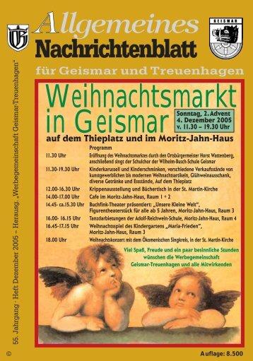 Nachrichtenblatt Dezember 2005 - Werbegemeinschaft Geismar ...