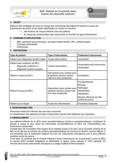 Maladie de Creutzfeldt Jakob Gestion des dispositifs médicaux - HPCI