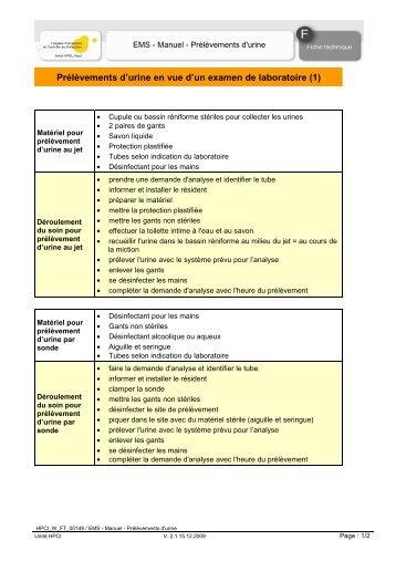 EMS - Manuel - Prélèvements d'urine - HPCI