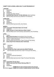 2011 HDRAGC program of events - Humpty Doo and Rural Area ...