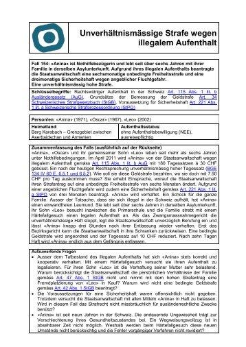 Unverhältnismässige Strafe wegen illegalem Aufenthalt - ODAE