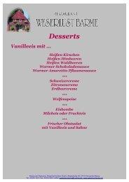 Desserts - Restaurant Weserlust-Barme