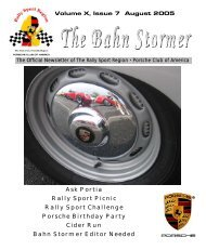August 2005 Bahn Stormer - Rally Sport Region - Porsche Club of ...