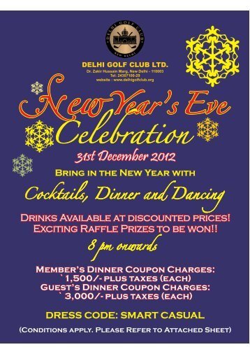 Bring in the New Year with - The Delhi Golf Club