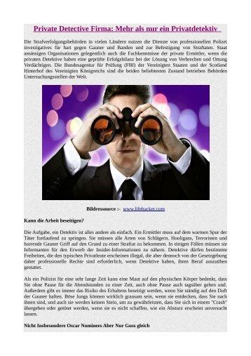Private Detective Firma: Mehr als nur ein Privatdetektiv