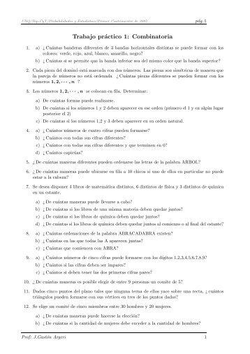 Trabajo práctico 1: Combinatoria - Materias.unq.edu.ar