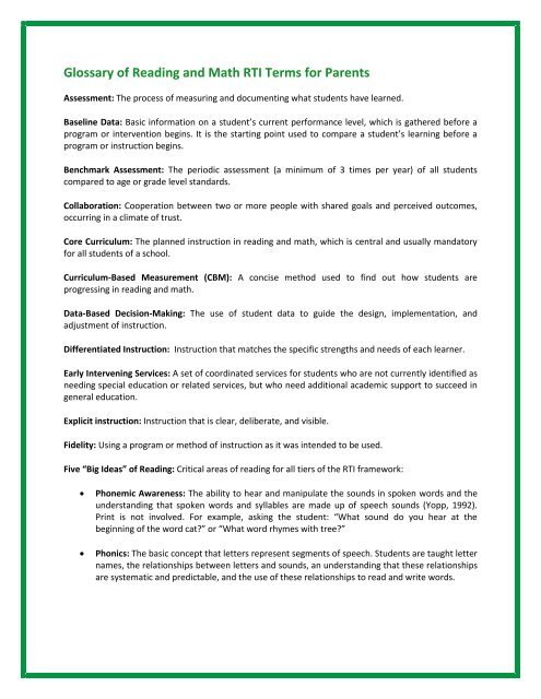 Glossary Of Terms To Help Parents >> Glossary Of Reading And Math Rti Terms For Parents Azspdg Com