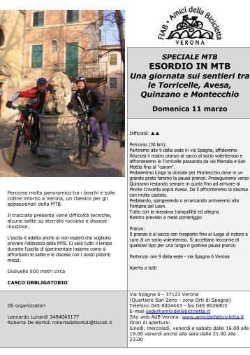 Volantino Esordio in MTB - Amici della Bicicletta di Verona