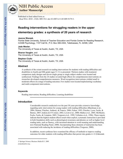 Reading Interventions For Struggling Readers In The Upper Elementary