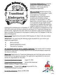 Transitional Kindergarten - Santee School District