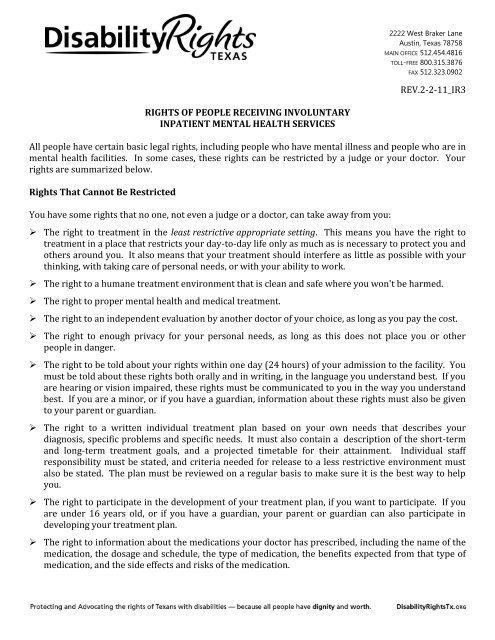 Rights Of People Receiving Involuntary Inpatient Mental Health