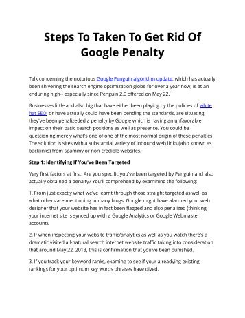 Steps To Taken To Get Rid Of Google Penalty