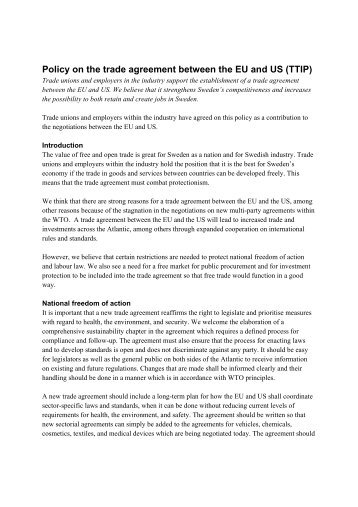 2015-02-03-Policy-on-the-trade-agreement-between-the-EU-and-US