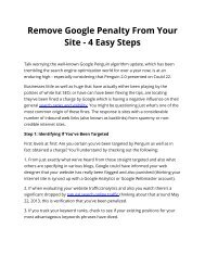 Remove Google Penalty From Your Site - 4 Easy Steps