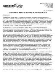 PRESENTAR UNA QUEJA CON LA AGENCIA DE EDUCACIÓN DE ...