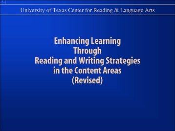 Reading and Writing Strategies in the Content Areas