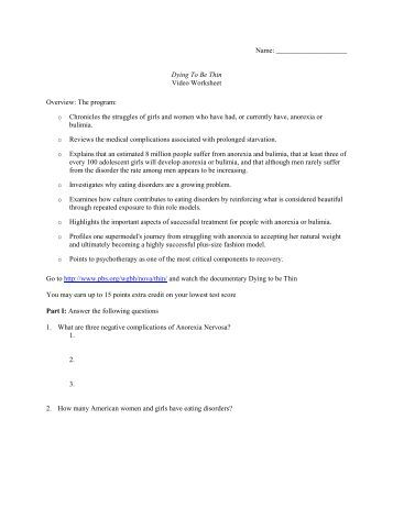 Worksheets Dying To Be Thin Worksheet dying to be thin worksheet answers overview