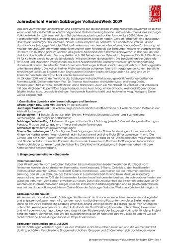 Jahresbericht 2009 - Salzburger Volksliedwerk
