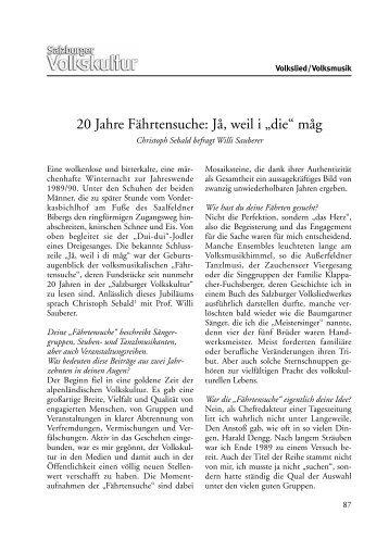 """20 Jahre Fährtensuche: Jå, weil i """"die"""" måg - Salzburger Volksliedwerk"""