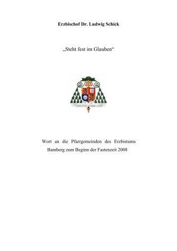 """""""Steht fest im Glauben"""" - Erzbistum Bamberg"""