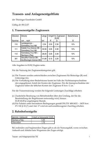 Trassen- und Anlagenentgeltliste - Thüringer Eisenbahn GmbH