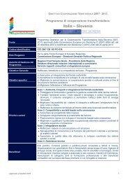 Scheda descrittiva Italia - Slovenia - Fondi Europei 2007-2013