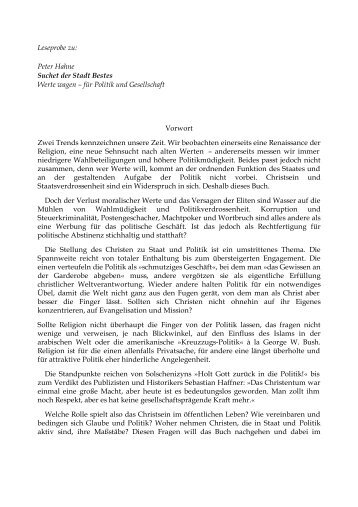 Leseprobe zu: Peter Hahne Suchet der Stadt Bestes ... - werte-blog