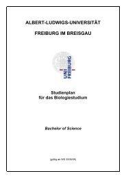 Studienplan - Fakultät für Biologie - Albert-Ludwigs-Universität ...