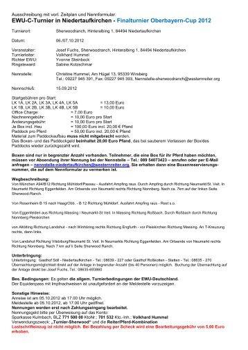 EWU-C-Turnier Niedertaufkirchen Abschlussturnier OberbayernCup ...