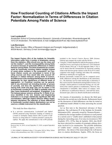 How fractional counting of citations affects the impact factor ...