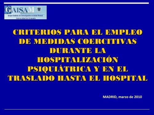 Criterios para el empleo de medidas coercitivas durante la ...