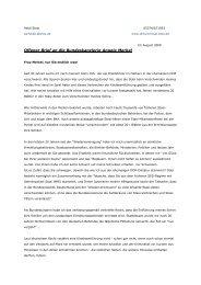 Offener Brief an die Bundeskanzlerin Angela Merkel