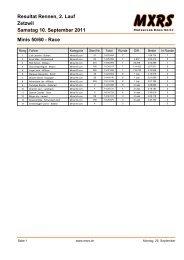 Zetzwil Resultat Rennen, 2. Lauf Samstag 10. September ... - MXRS