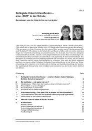 Kollegiale Unterrichtsreflexion - Netzwerk Schulentwicklung