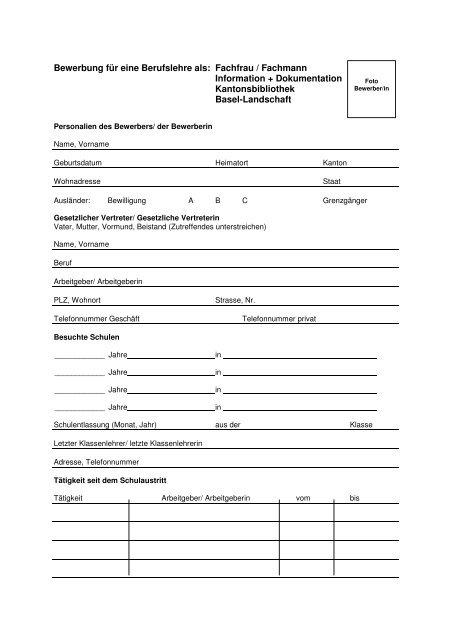 Bewerbung für eine Berufslehre als: Fachfrau / Fachmann ...