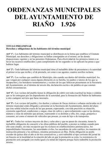 Ordenanzas del Ayuntamiento de Riaño. - Revista Comarcal de la ...