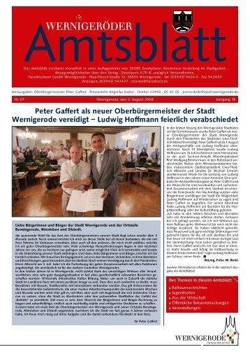 Peter Gaffert als neuer Oberbürgermeister der Stadt Wernigerode ...