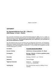 AUFGEBOT für überbetrieblichen Kurs ÜK 1, Block A, AGS-Klasse ...