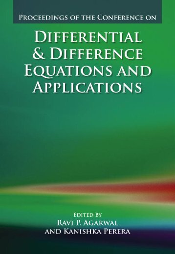 DIFFERENtIAl & DIFFERENCE EqUAtIONS ANd APPlICAtIONS