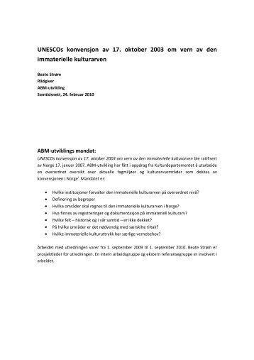 UNESCOs konvensjon om vern av den immaterielle - Maihaugen