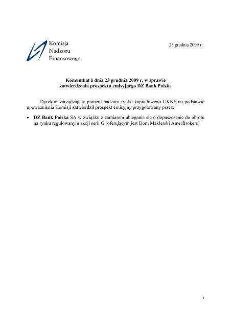 Komunikat z dnia 23 grudnia 2009 r. w sprawie zatwierdzenia ...