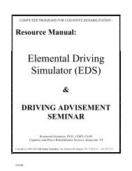 Elemental Driving Simulator (EDS) - Cognitive Rehabilitation Services